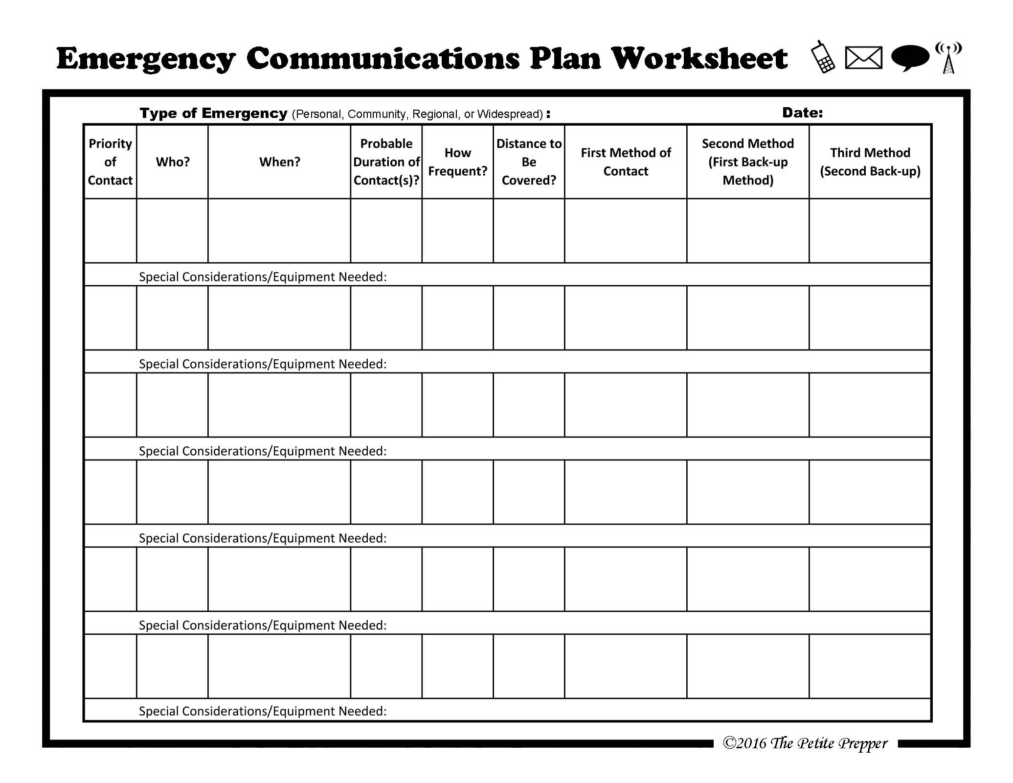 Emergency Communications Plan Worksheets By The Petite