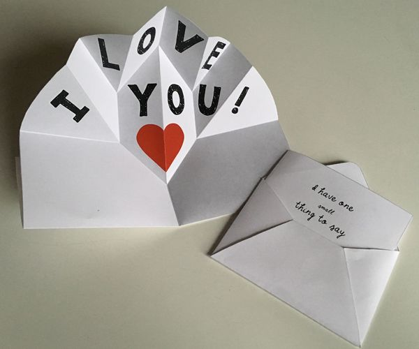 Expanding Pop Up Make A Thank You Card Or Love Note Which Starts Small But Opens Big Pop Up Card Templates Diy Pop Up Cards Thank You Card Design