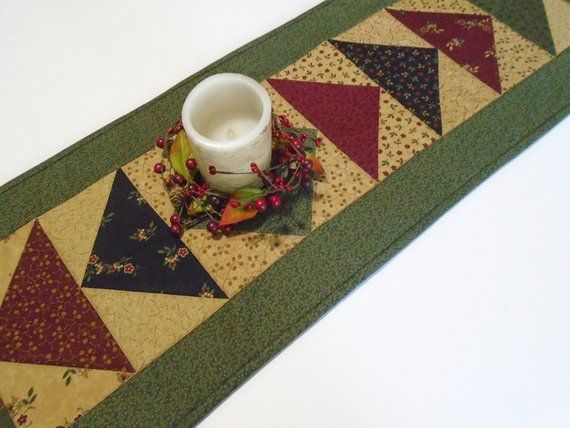 Table Runner  Table Topper  Quilted Runner  Earth Tones