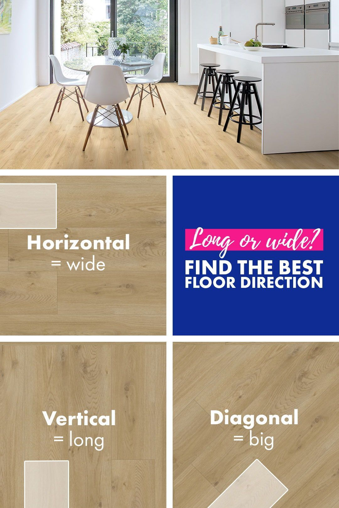What Is The Best Direction To Install My Floor Long Wide Or Diagonal Find Out How The Direction Of Yo In 2020 Flooring Wood Floors Wide Plank Laminate Flooring