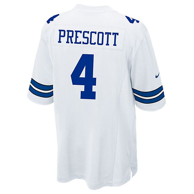 new product cd443 1bfe0 Dallas Cowboys Dak Prescott Nike White Game Replica Jersey ...