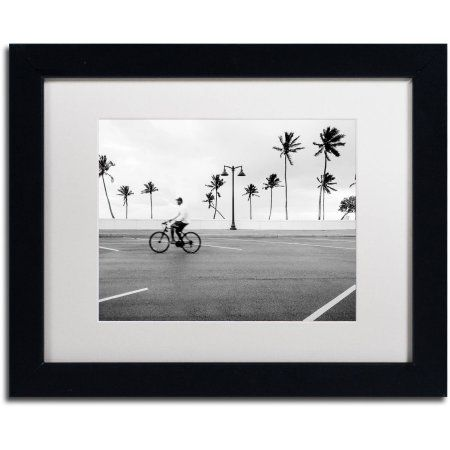 trademark fine art florida beach bike canvas art by preston white mat black frame