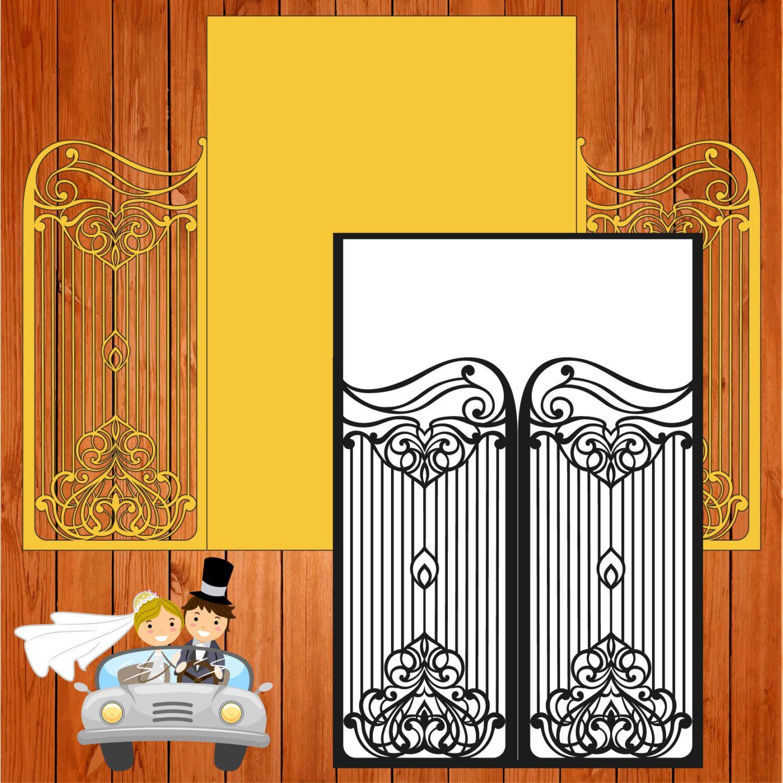 Invitación de la boda tarjeta plantilla calado, puertas, figuras ...