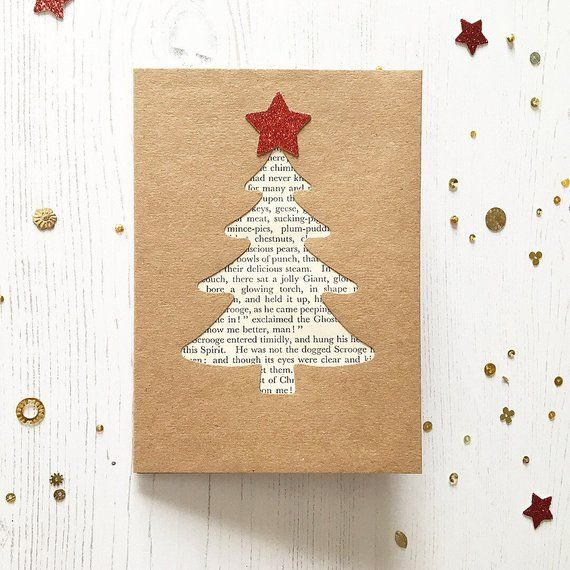 Items similar to A Christmas Carol, Literary Greetings Cards, Xmas Tree, Charles Dickens, Festive Quote, Luxury Handmade, Pack of 4 on Etsy