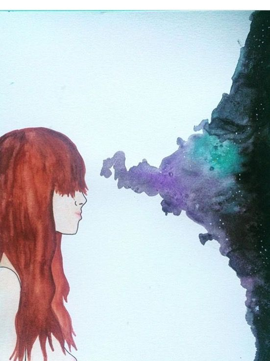 Watercolor painting of a woman and the galaxy