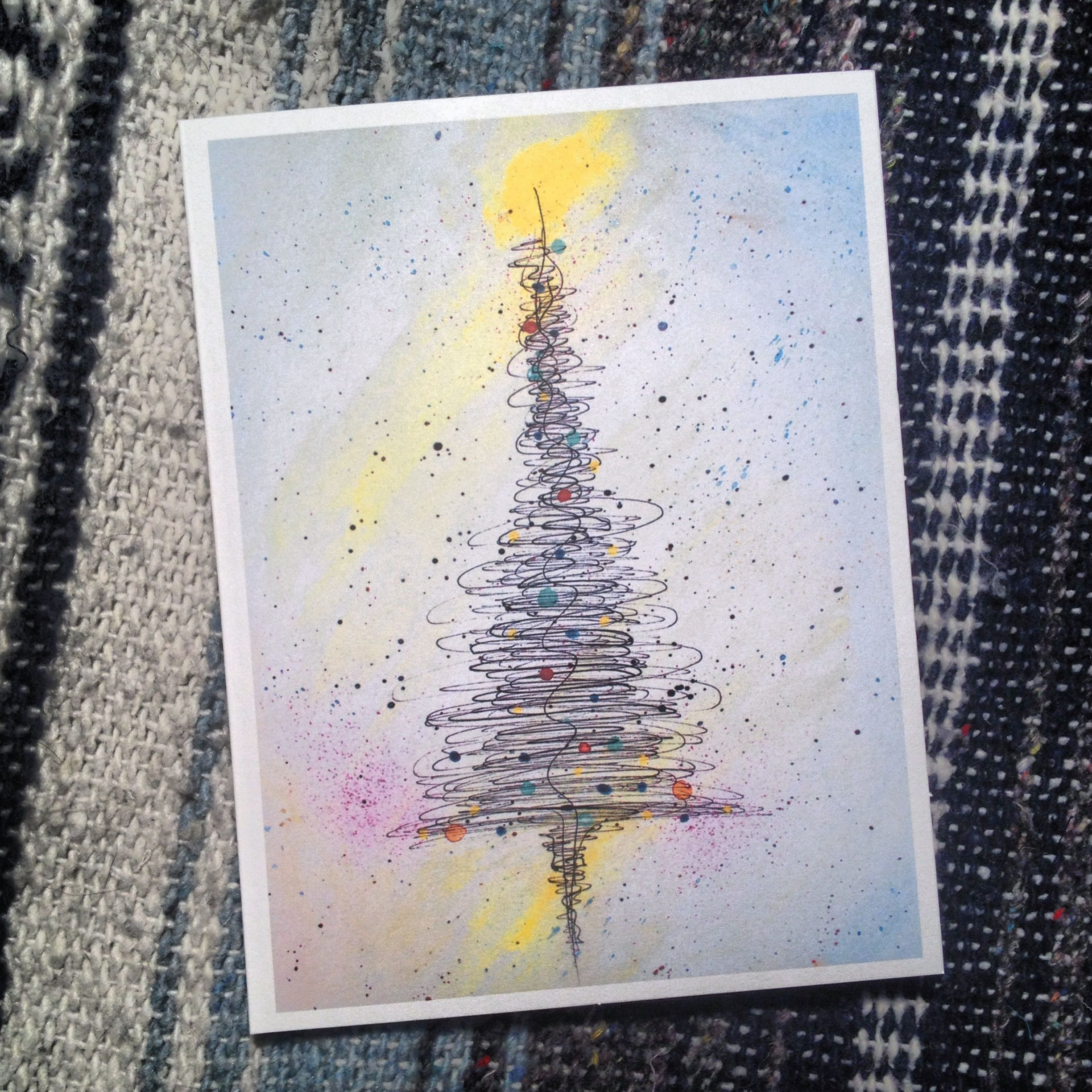 Watercolor and ink christmas tree card by Noel Young. 5\