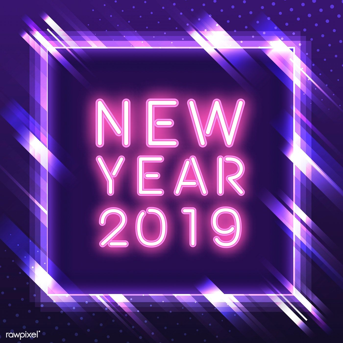 Pink new year 2019 in a purple square neon sign vector