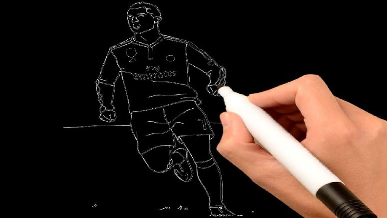Cristiano Ronaldo Drawing Black Page For Kids Coloring Books Youtube Cristiano Ronaldo