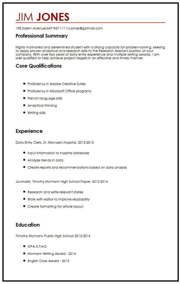 Cool Student Cv Template Example Gallery