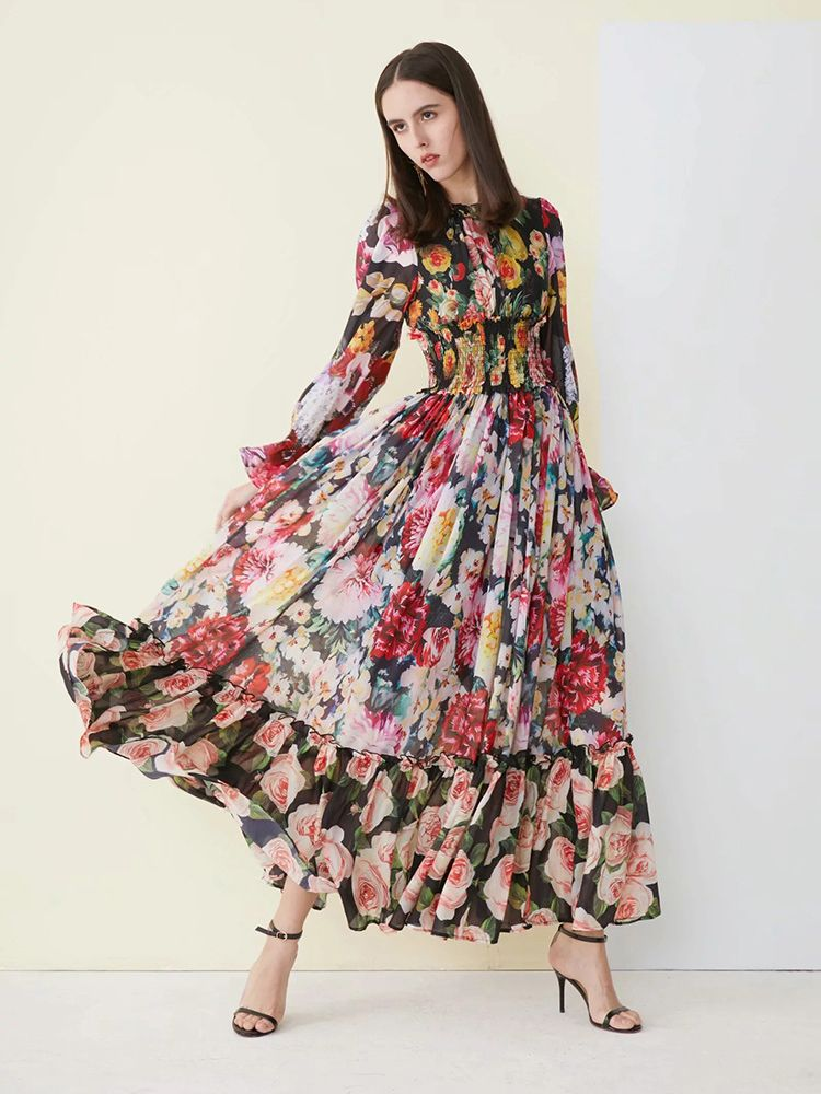 1536e39cc7c Boutique Floral Print National Style Maxi Dress in 2019