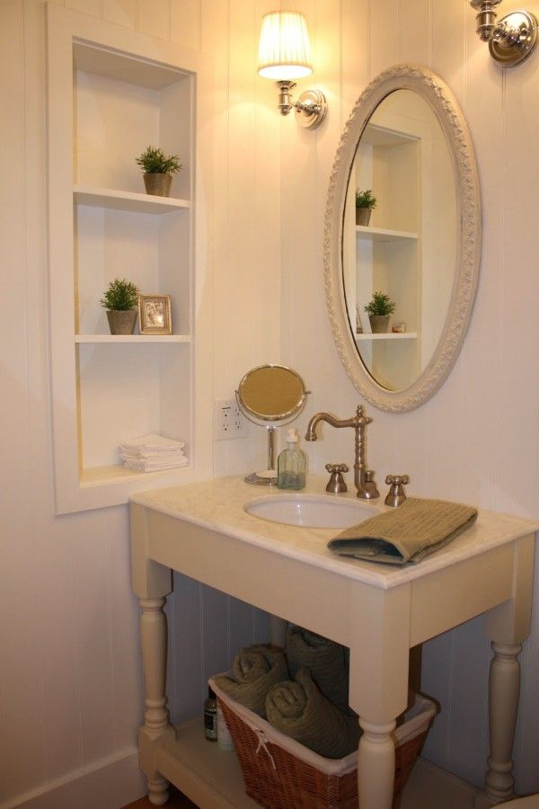 Furniture fantastic bathroom vanity mirrors framed close for Bathroom built in shelving ideas