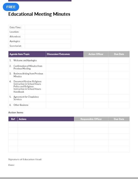 educational meeting minutes meeting minutes templates designs