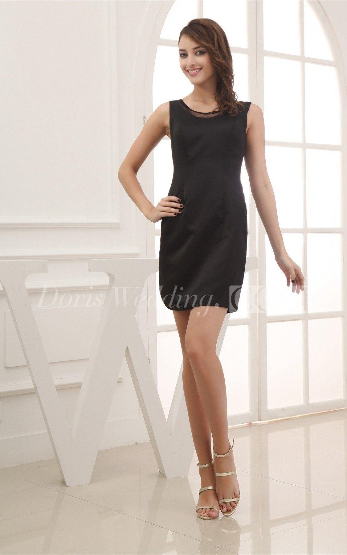 Satin sleeveless design short graduation dress college graduation