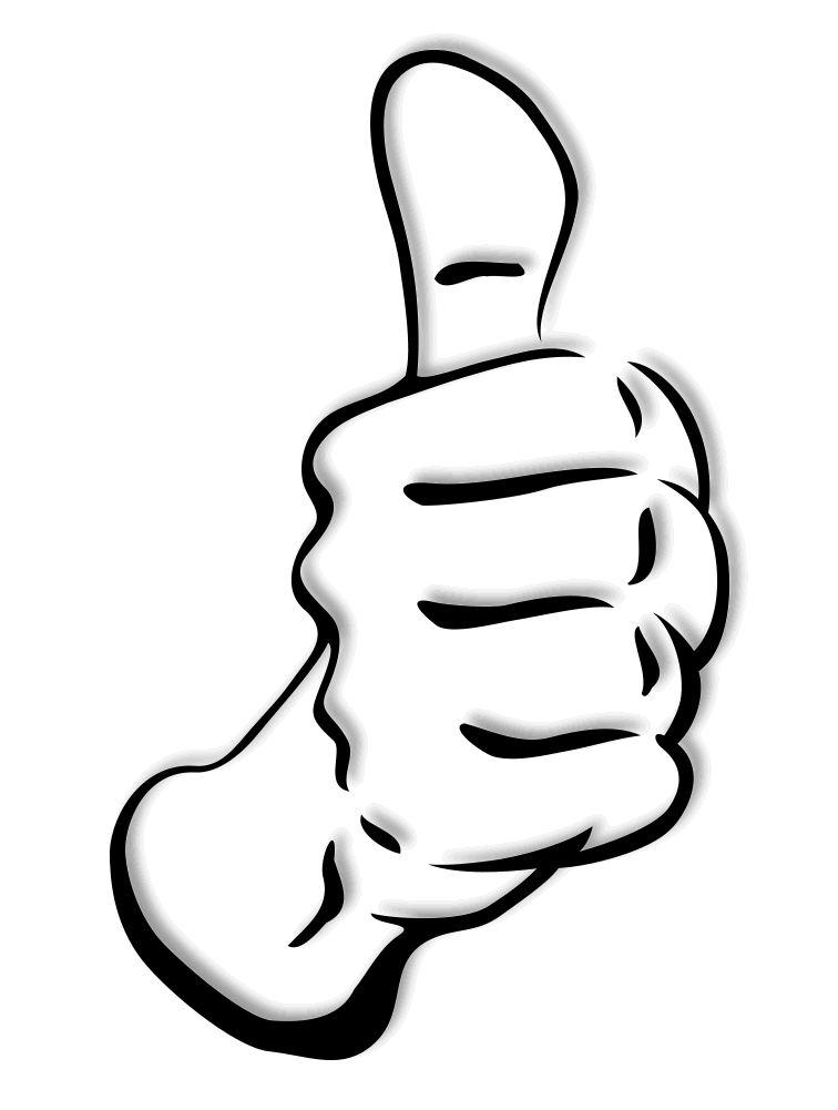 Thumb Up Full Page Bw Clip Art Download Png Jempol Png Thumbs Up Website Trends