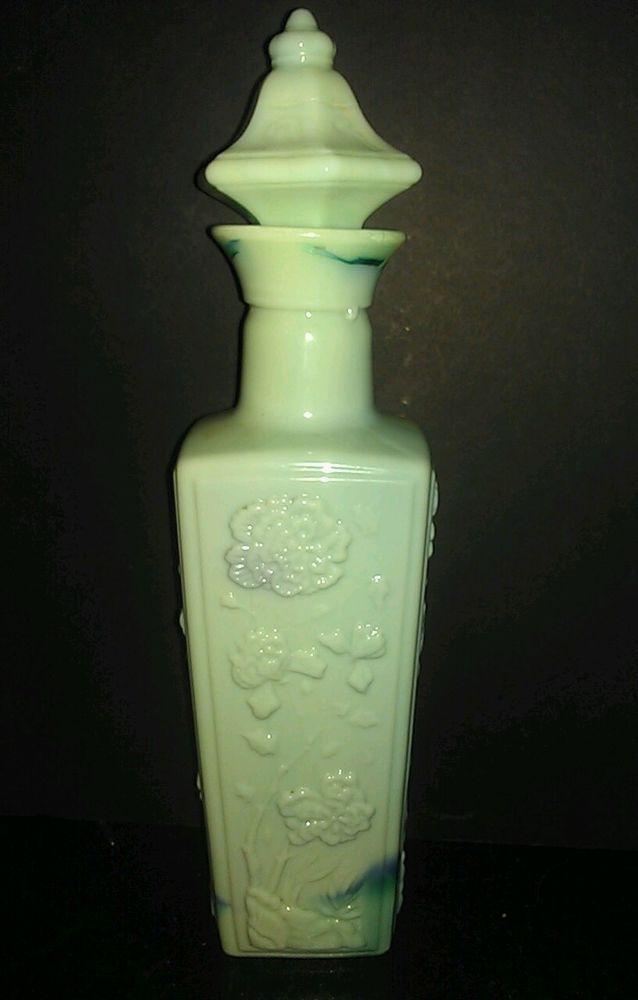 Vintage 1972 Jim Beam Blue Green Jadeite Slag Glass Liquor