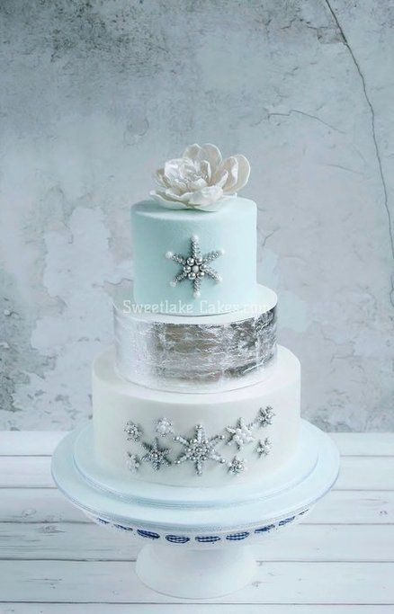 Blue And Silver Winter Wedding Cakes