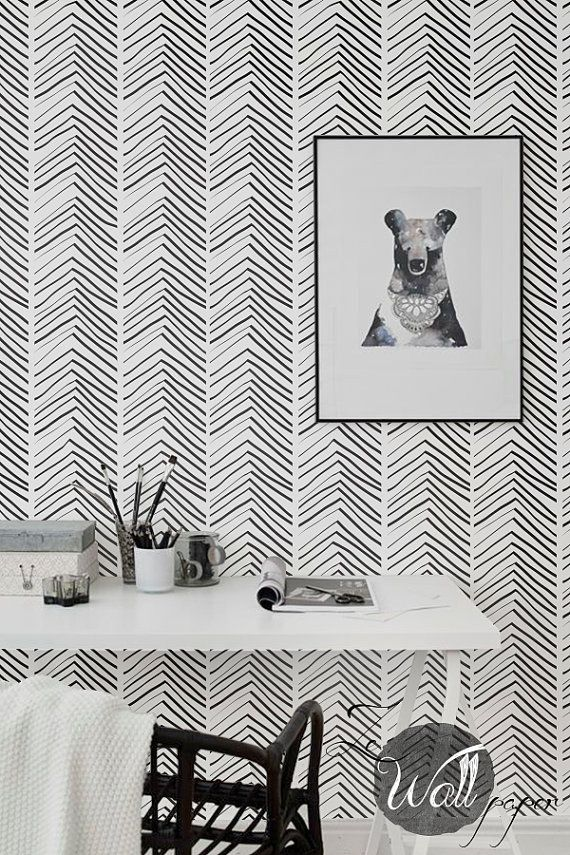 Self Adhesive Herringbone Pattern Removable Wallpaper Wall Mural Just Peel And Wallpaper Bedroom Feature Wall Black And White Wallpaper White Room Decor Diy