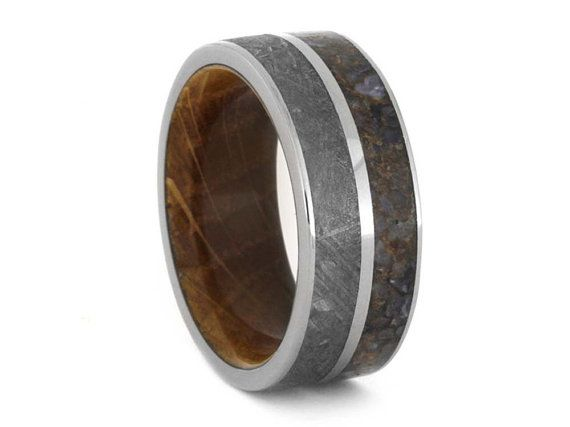 Mens Meteorite Wedding Band With Whiskey Barrel Wooden Sleeve