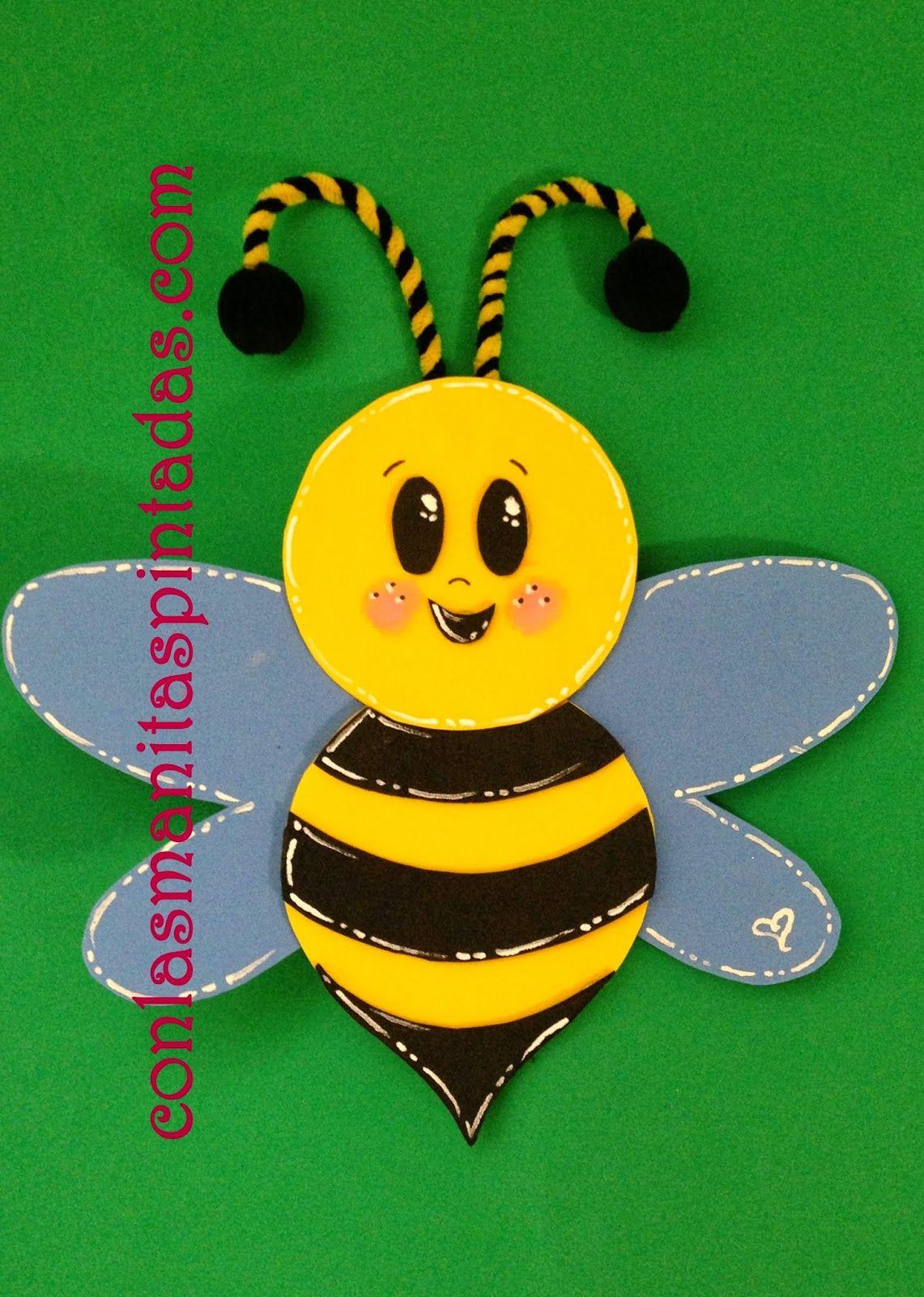 Con las manitas pintadas how to make a beautiful bee with - Cosas de goma eva ...