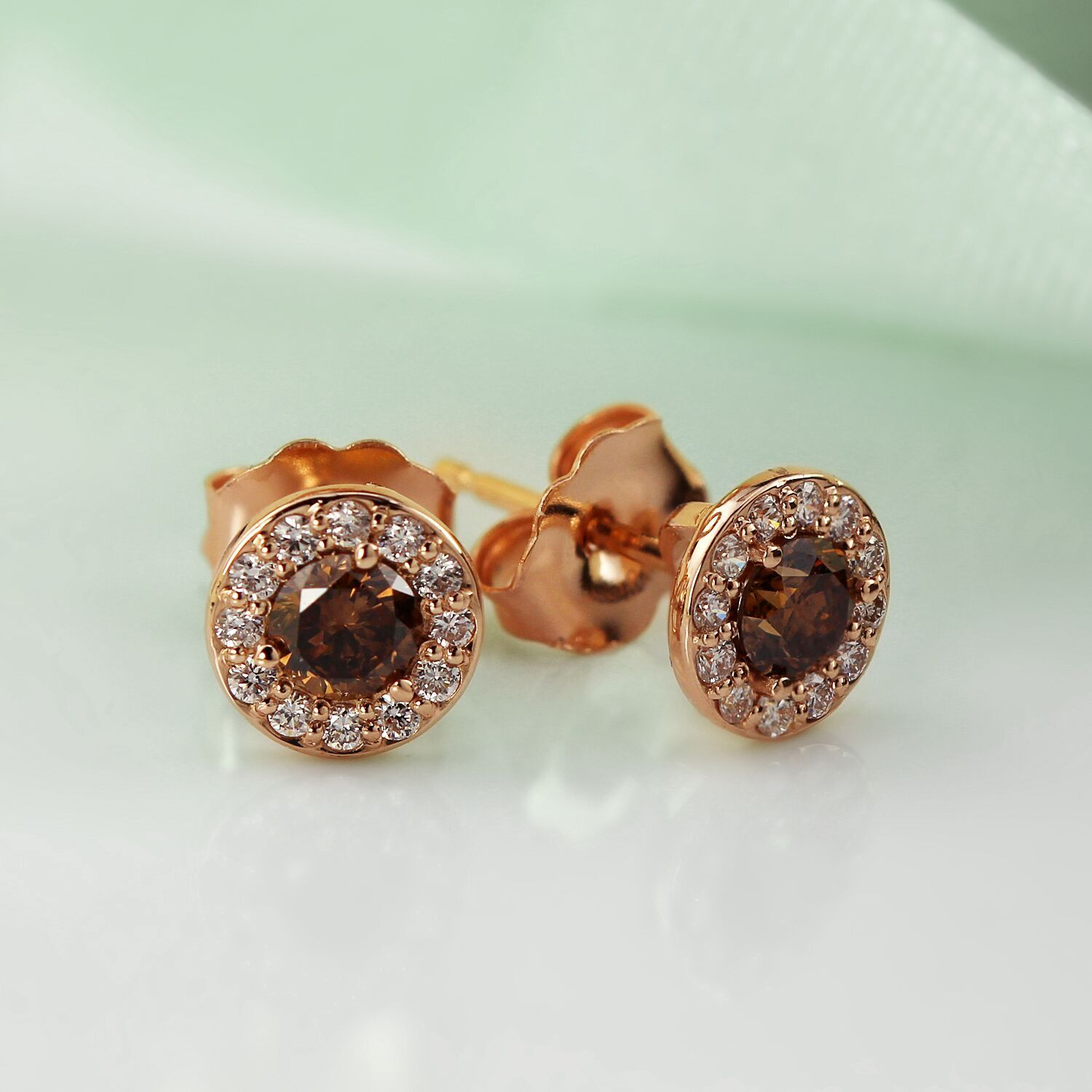 Certified 14k Rose Gold Halo Round Brown Diamond Stud Earrings 1 00 Ct Tw Brown Si1 Si2 Diamond Earrings Studs Diamond Studs Stud Earrings