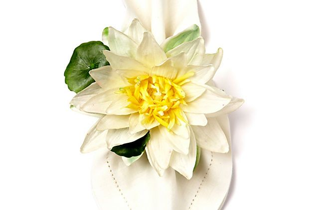 Water Lily Napkin Ring, White On OneKingsLane.com By