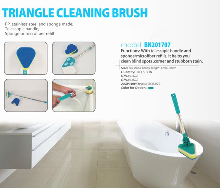 Bathtub And Corner Easy Clean Stainless Steel Pole Triangle Scrubber