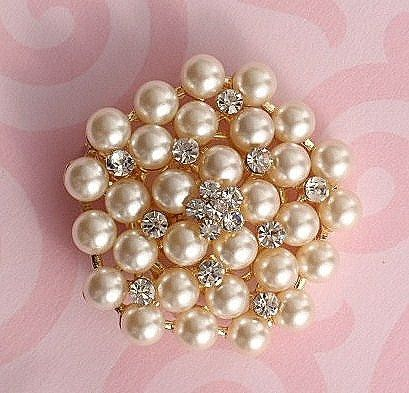 Bridal Pearl Rhinestone Sparkling Brooch Pin Gold Plated Embellishment Broach Diy Wedding Bouquet Sash