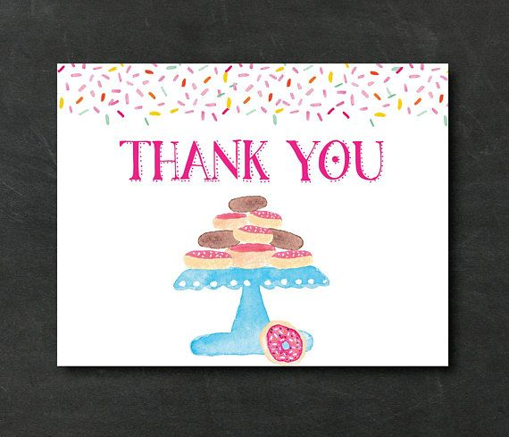 Instant Download Thank You Card Donut Thank You Cards Birthday