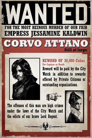 Corvo Attano Wanted Poster Dishonored Game Room Inspiration