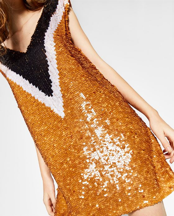 Image 3 of SEQUINNED DRESS WITH A V-NECK from Zara