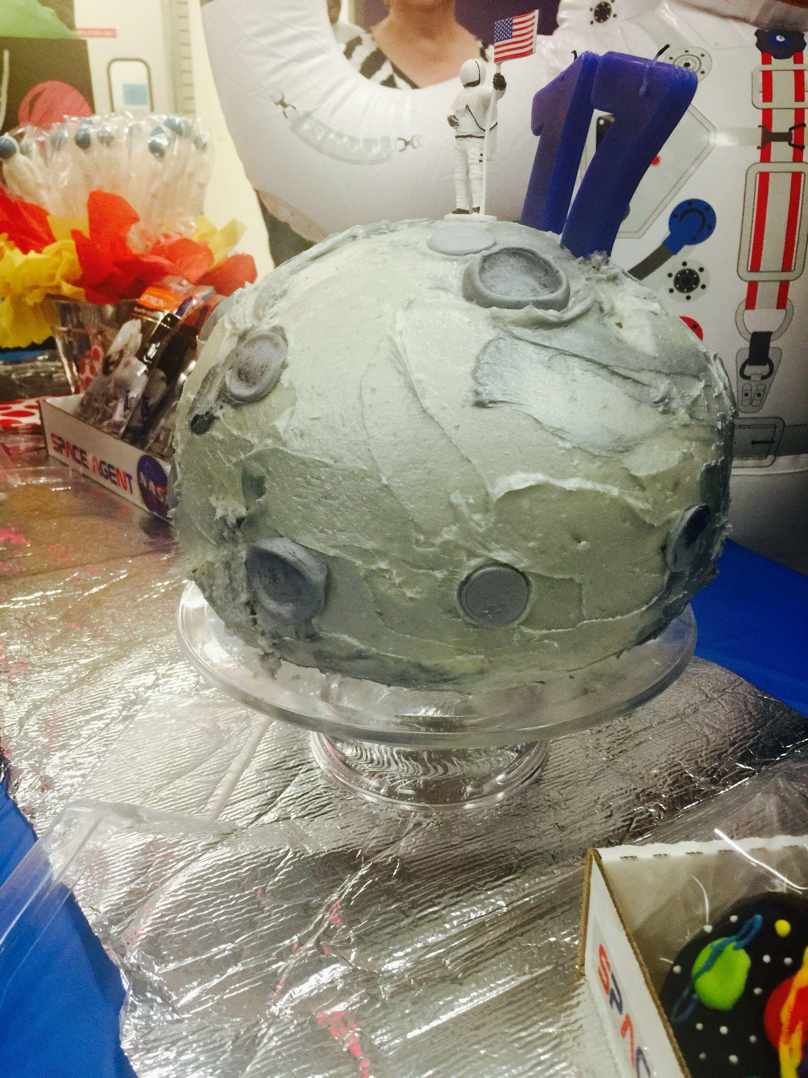 NASA THEME - Moon cake - sphere cake pan - white chocolate buttercream frosting , fondant and edible glitter spray