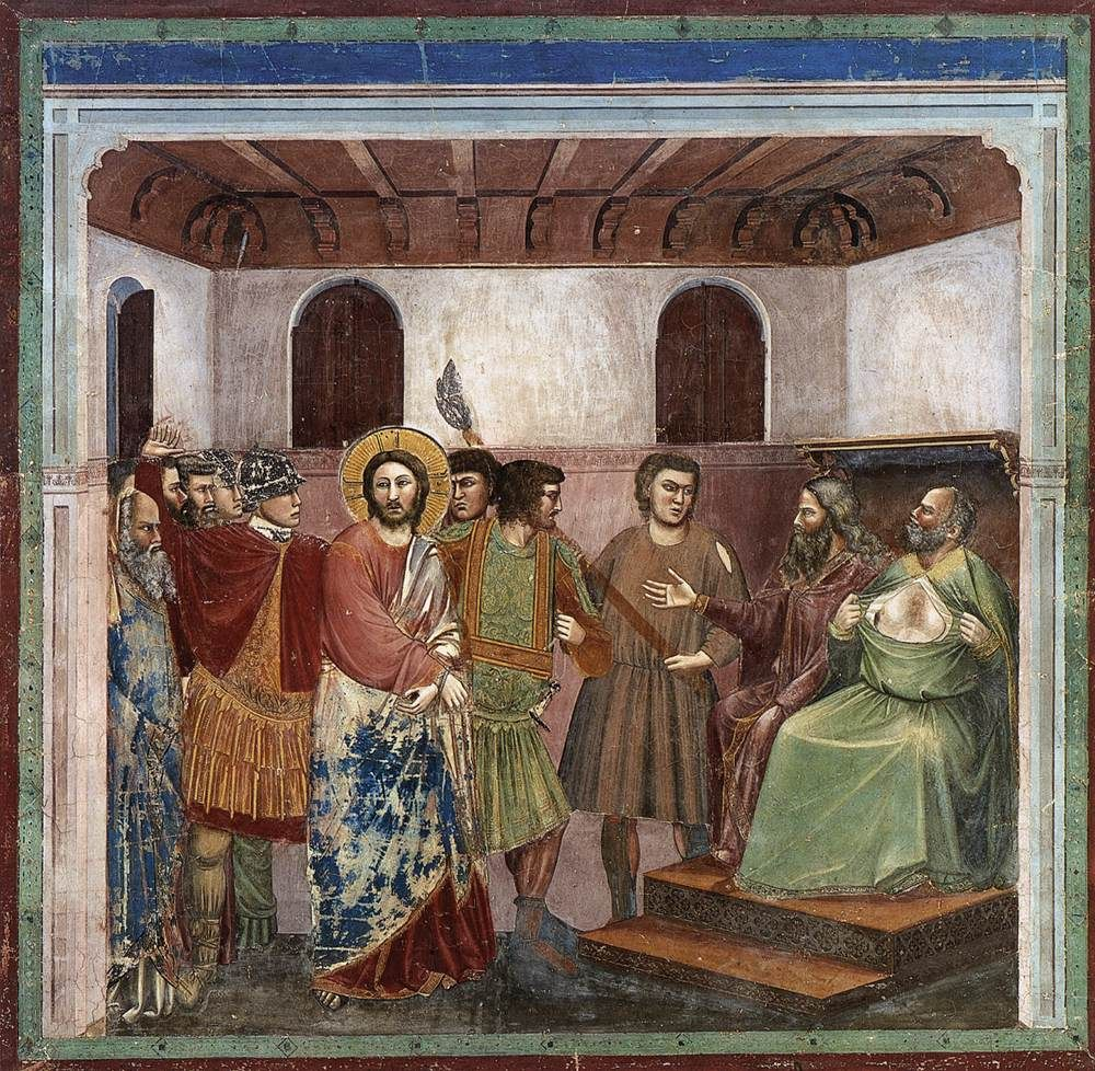 GIOTTO di Bondone (Italian: 1267 - 1337) - Christ Before Caiaphas, 1305