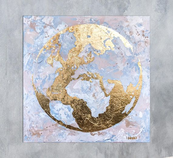 Abstract world map painting this gold leaf world map is a great abstract world map painting this gold leaf world map is a great conversation piece gumiabroncs Gallery