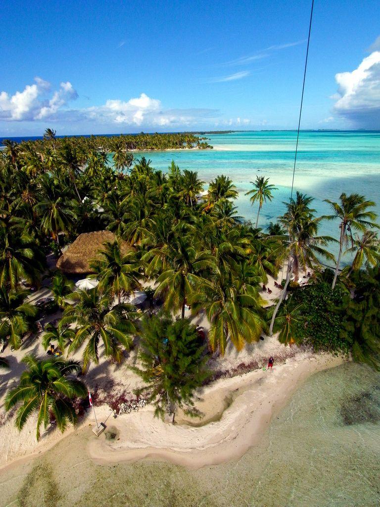 Kite Aerial Photography of Paul Gauguin private motu for beach picnic, French Polynesia ✯ ωнιмѕу ѕαη∂у