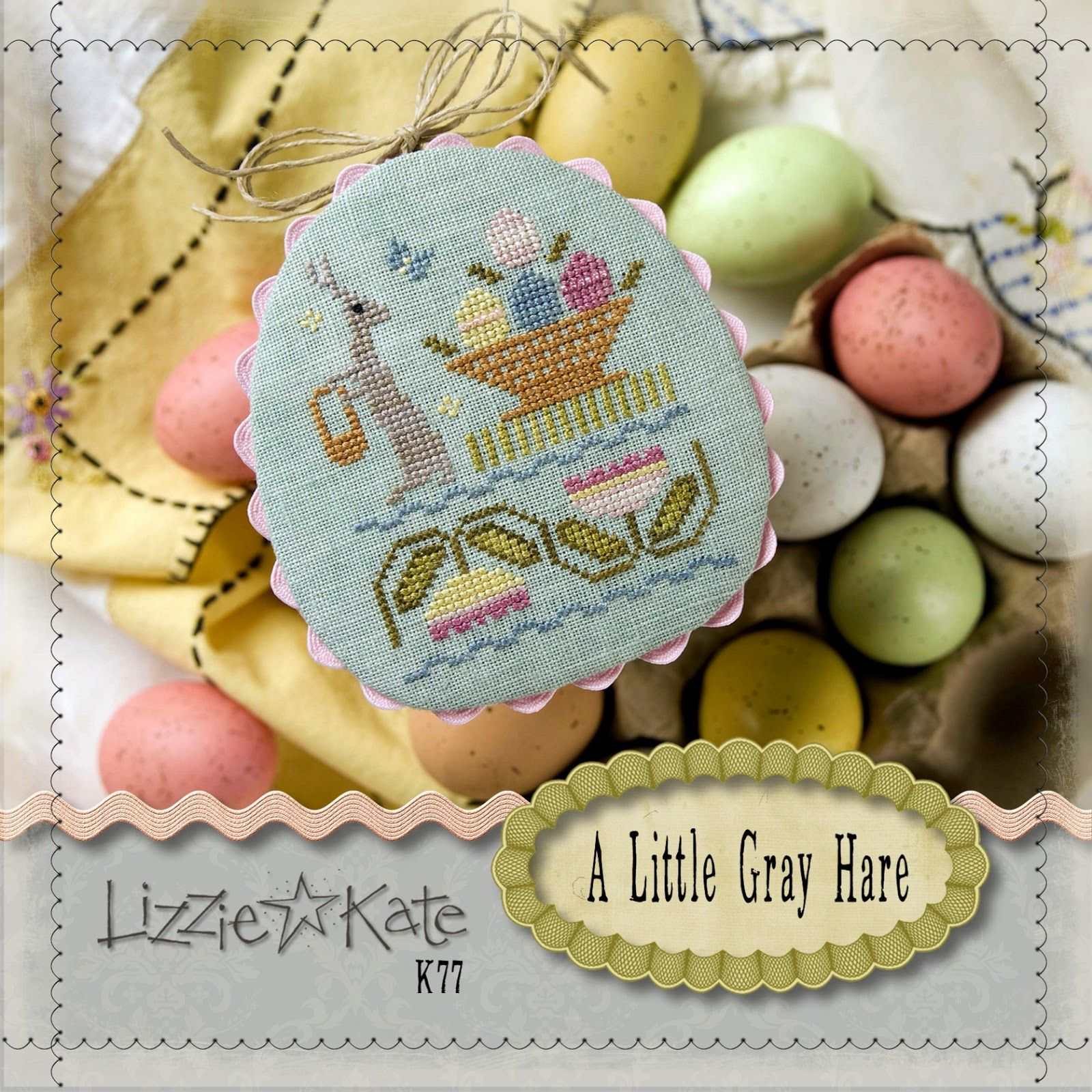 A Little Gray Hare is the title of this Market Exclusive kit from Lizzie Kate and Norden Crafts. The kit includes the 30 ct fabric, fibers, needle and cross stitch pattern.