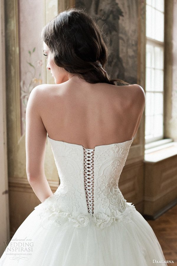 Daalarna Bridal 2014 Strapless Ball Gown Wedding Dress Back Corset Lace Up  Closeup