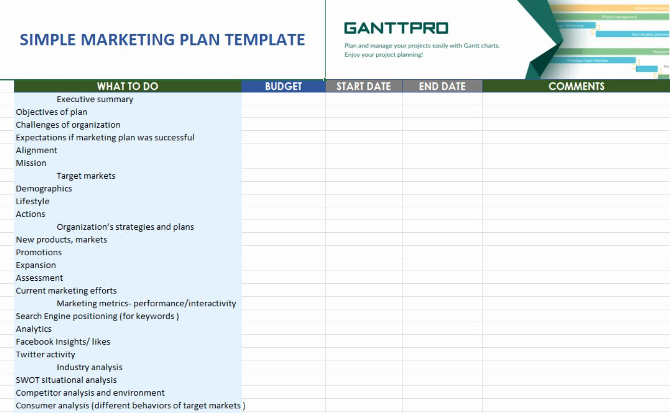 Strategic Plan Template Excel Beautiful Simple Marketing