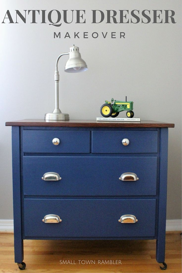 Navy Blue Dresser With Wood Stained Top Wood Stain