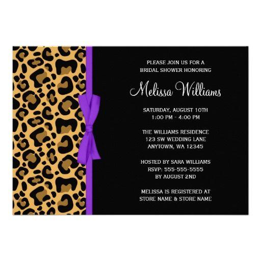Leopard Purple Printed Ribbon Bridal Shower Announcement