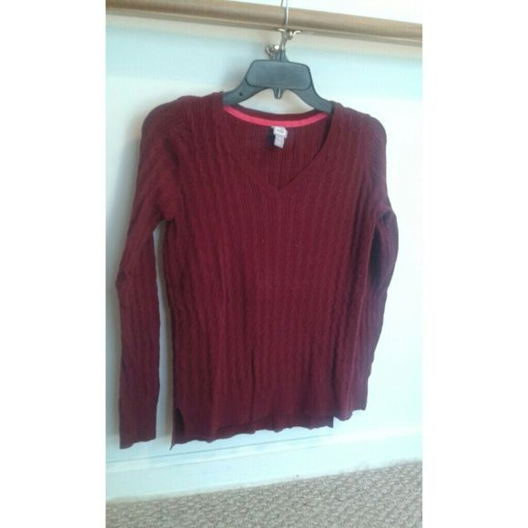7a62ecfc326 SALE!JCP Maroon Cable Knit V Neck Sweater