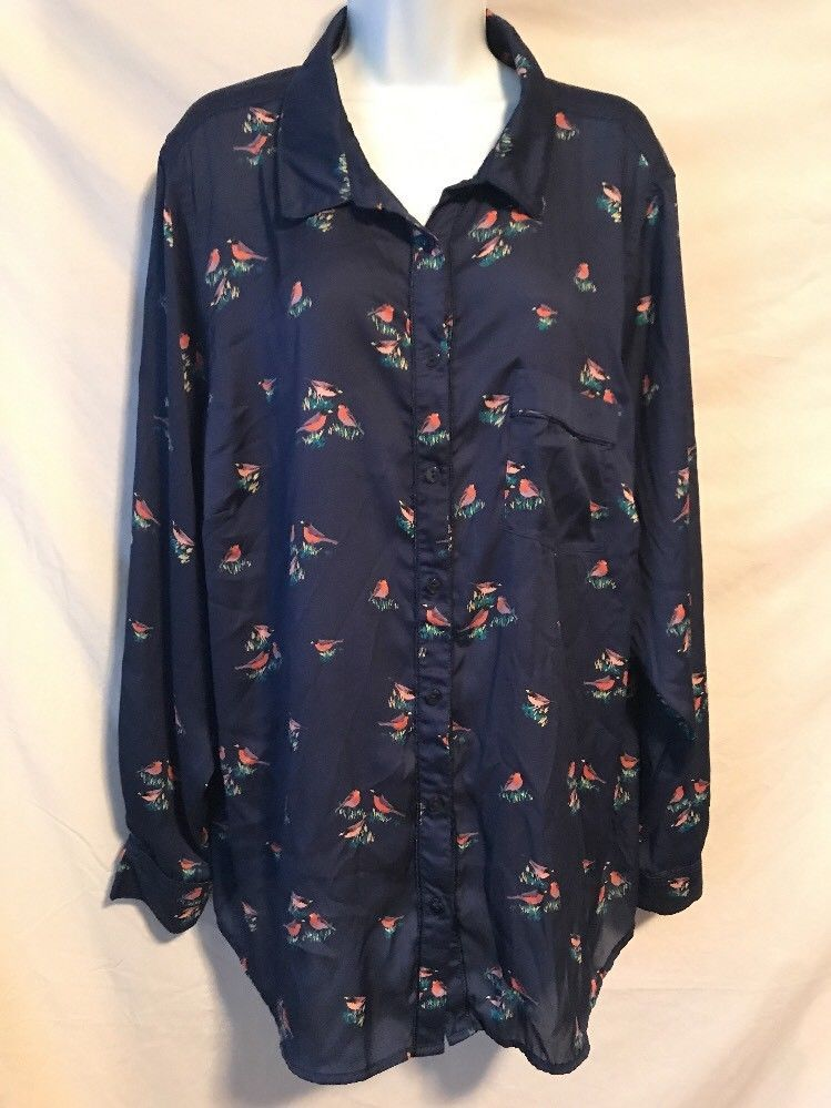 3e34ea33 Liz Claiborne 3X Navy Blue Bird Pattern Polyester Button Down Shirt Top # LizClaiborne #ButtonDownShirt