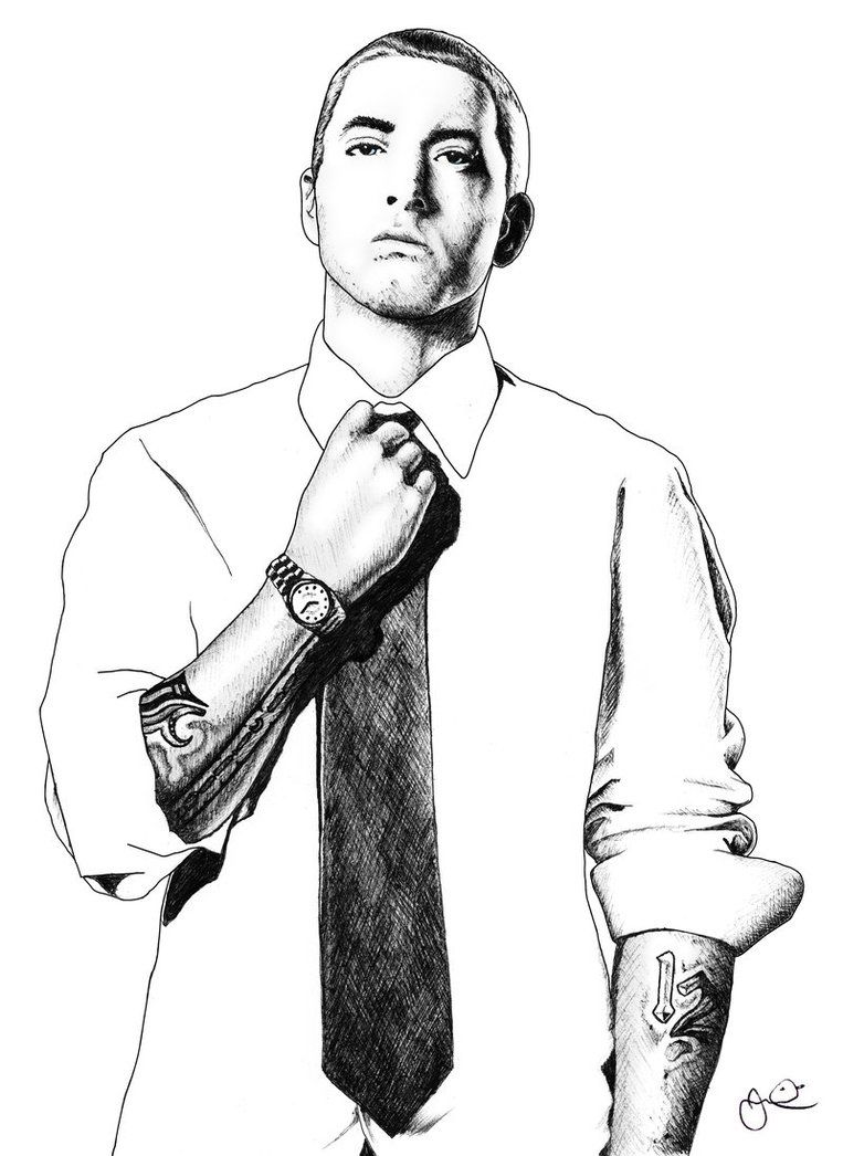 Portrait of Jay Z, drawn in black Ballpoint Biro