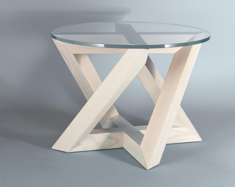 Rk Modern Wood Side Table With Circle Crystal Extra White Glass