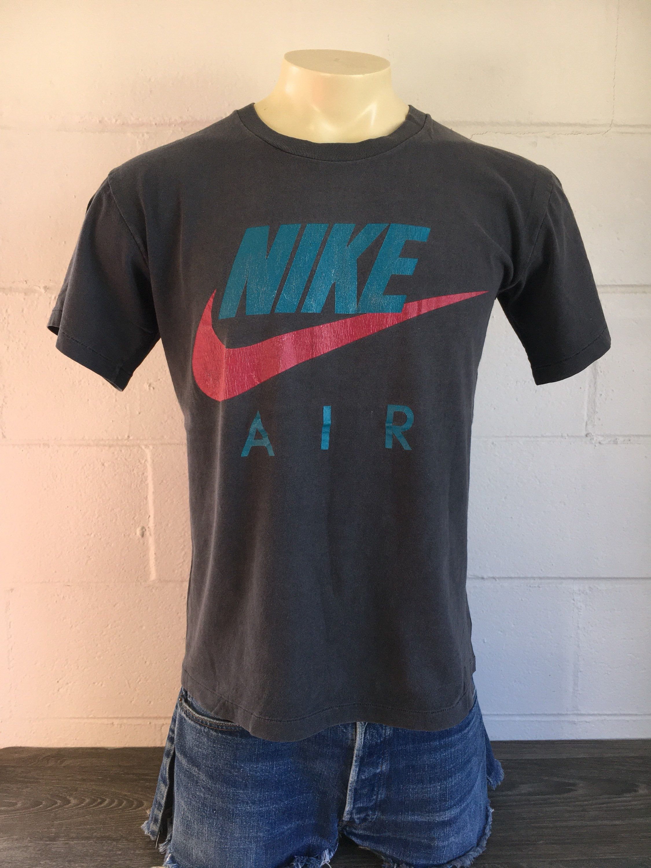 2d2f058fa4b5 Nike Air Tshirt Vintage 90s Big Swoosh Logo Shirt Single Stitch Jordan Tee  Burnout Black Medium