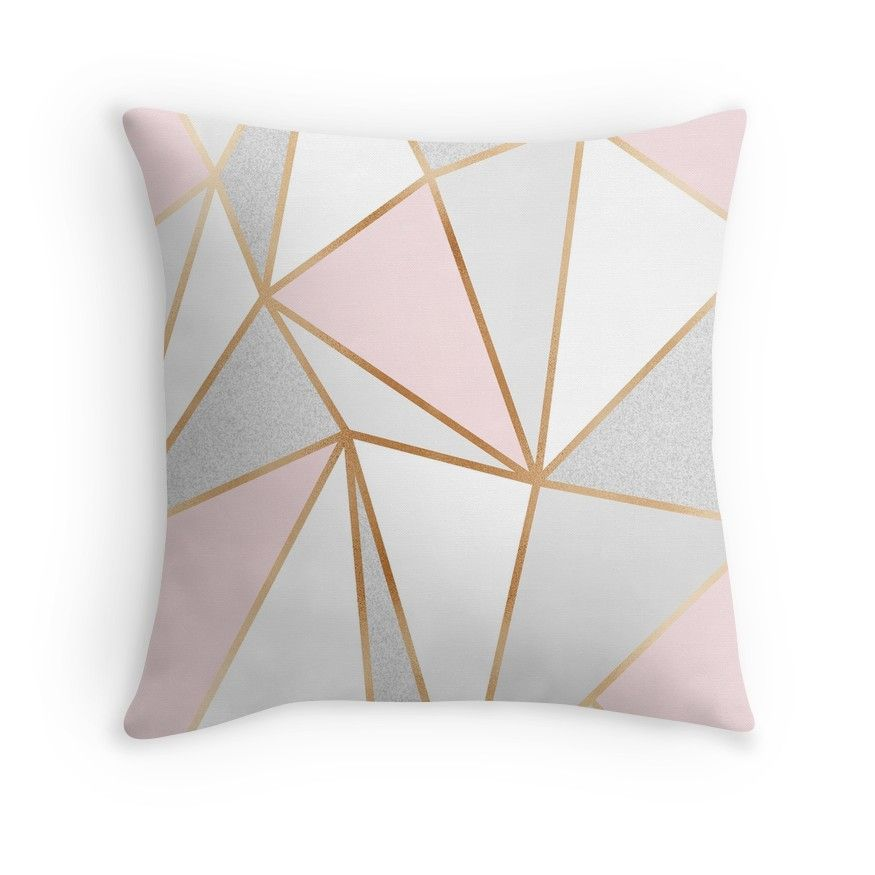 'Pink, Grey & Gold Geo' Throw Pillow by Blue-Banana #graybedroomwithpopofcolor