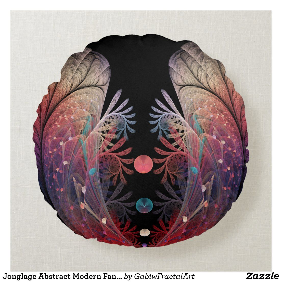 Jonglage Abstract Modern Fantasy Fractal Art Round Pillow