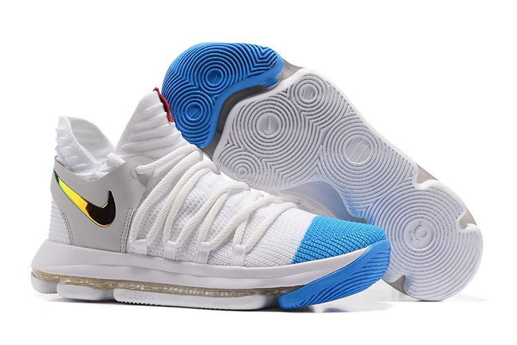 Cheap Nike Zoom KD 10 White Blue Gold For Sale,Discount shoes,cheap sneakers