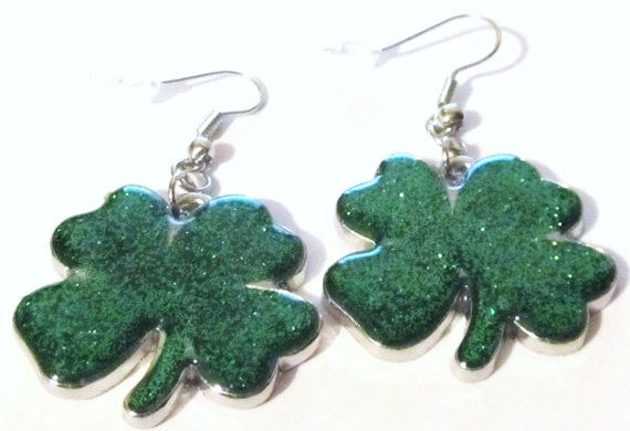 1 1/2 Silver Plated Green Four Leaf Clovers Pierced by ADKOR, $6.99