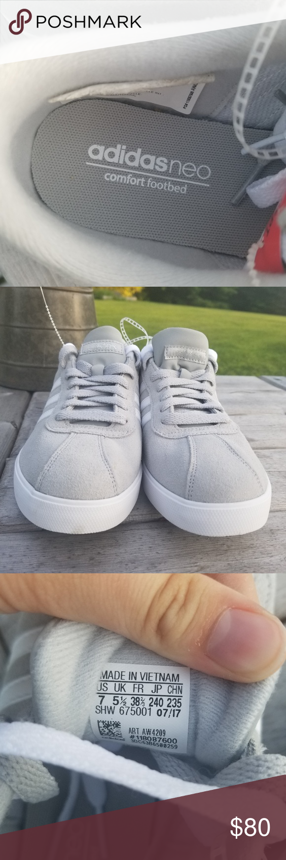 NWOT ADIDAS NEO WOMENS SIZE 7 SNEAKERS GREY WHITE   Sneakers grey ...