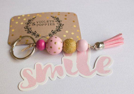 Heiße Rosa Gold Polka Dot, runde Holz Perle Keyring Schlüsselanhänger, Quaste Glitter prickelnde Frauen Geschenk, 5. Jahrestag Geldbeutel Charme